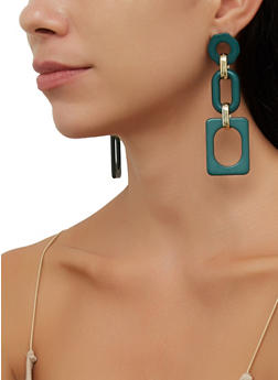 Geometric Resin Drop Earrings - 3135057693466