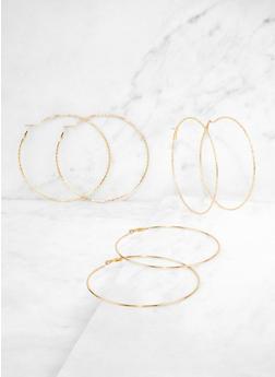 Large Textured Hoop Earring Trio - 3135057693830