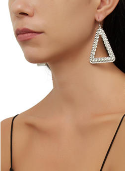 Rhinestone Metallic Triangular Earrings - 3135057693880