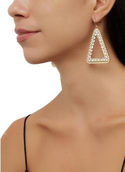 Rhinestone Metallic Triangular Earrings - 3135057693880