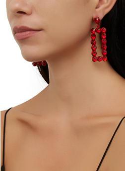 Rhinestone Rectangular Drop Earrings - 3135057693885