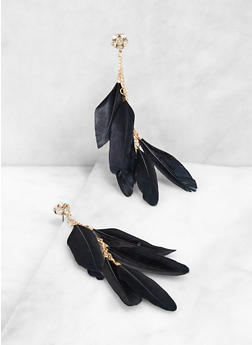Feather Drop Earrings   3135057694021 - 3135057694021