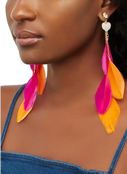 Heart Feather Earrings - 3135057694094