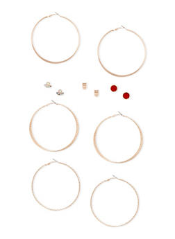 6 Stud and Hoop Earrings Set - 3135057694101