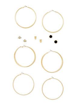 6 Stud and Hoop Earrings Set - 3135057694101