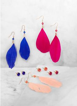 Rhinestone Stud and Beaded Feather Drop Earrings - 3135057694105