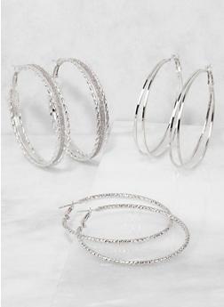 Glitter Hoop Earrings Trio - 3135057695184