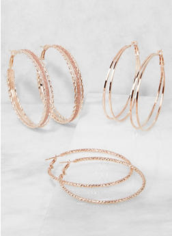 Glitter Hoop Earrings Trio - 3135057695184