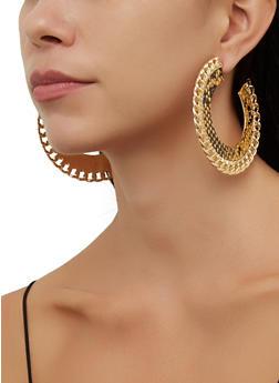 Snake Print Open Chain Hoop Earrings - 3135057696526