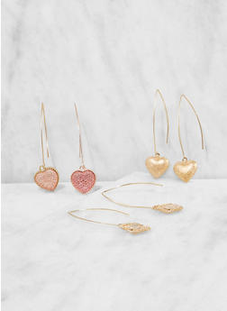 Set of 3 Heart Charm Threaders - 3135057696610