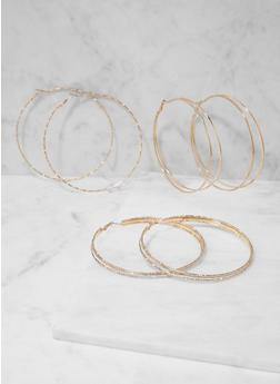 Trio of Oversized Hoop Earrings - 3135057696984