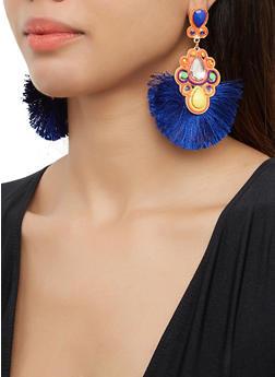 Fringe Jeweled Drop Earrings - 3135062810208