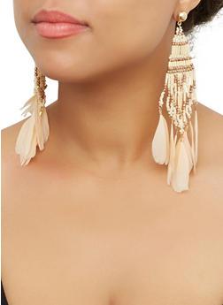 Beaded Feather Drop Earrings - 3135062814039