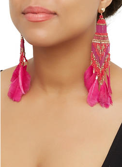 Beaded Feather Drop Earrings - 3135062814039