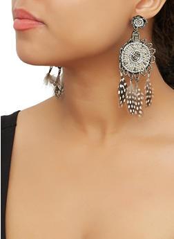 Beaded Feather Fringe Drop Earrings - 3135062814068