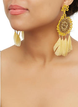 Beaded Feather Fringe Drop Earrings - 3135062814068