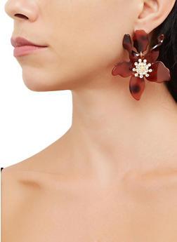 Plastic Rhinestone Flower Earrings - 3135062814486