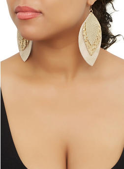 Faux Leather Glitter Feather Drop Earrings - 3135062814748