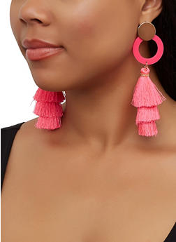 Neon Three Tier Tassel Earrings - 3135062815381