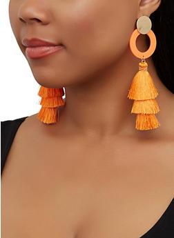 Neon Three Tier Tassel Earrings - 3135062815381
