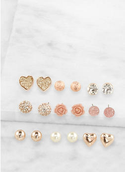 Assorted Metallic Stud Earrings Set - 3135062815699