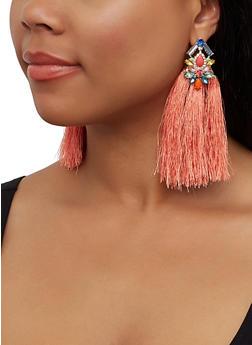 Tassel Jeweled Drop Earrings - 3135062816153