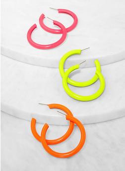 Neon Tube Hoop Earring Trio - 3135062819561