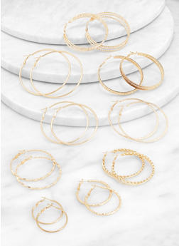 Multi Size Metallic Hoop Earrings Set - 3135062920321
