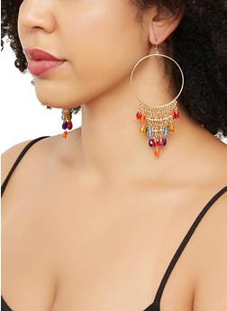 Beaded Fringe Hoop Drop Earrings - 3135062920330