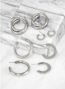 Tubular Metallic Hoop Earring Set - 3135062920338