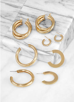 Tubular Metallic Hoop Earring Set - 3135062920338