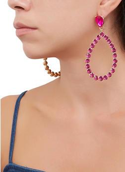 Rhinestone Teardrop Earrings - 3135062920358