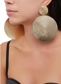 Oversized Metallic Disc Drop Earrings - 3135062920360