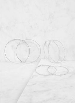 Metallic Hoop Earring Trio - 3135062920552