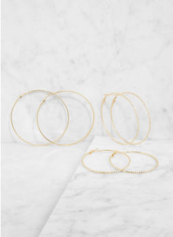 Metallic Hoop Earring Trio - 3135062920552