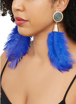 Large Feather Drop Earrings - 3135062921234