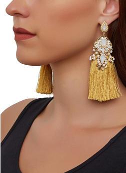 Beaded Tassel Drop Earrings - 3135062921480