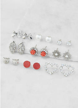 Assorted Rhinestone Stud Earrings Set - 3135062922539