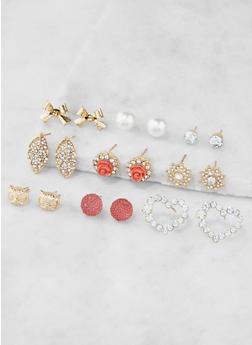 Assorted Rhinestone Stud Earrings Set - 3135062922539