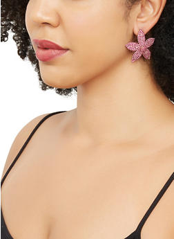 Rhinestone Flower Earrings - 3135062922823