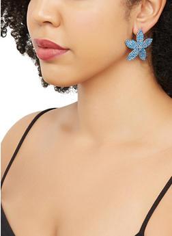 Rhinestone Flower Earrings - 3135062922823