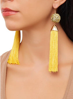 Rhinestone Tassel Drop Earrings - 3135062922970