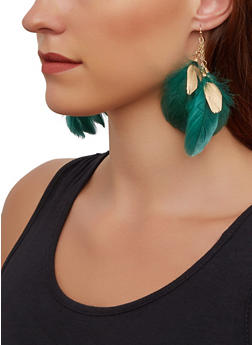 Layered Feather Drop Earrings - 3135062922985