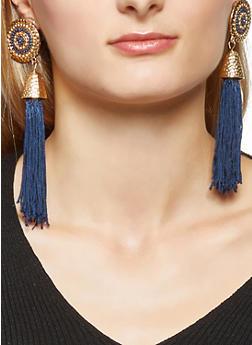Beaded Disc Tassel Earrings - 3135062923109