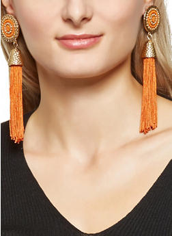 Beaded Disc Tassel Earrings - 3135062923109