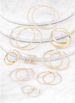 Set of 9 Variegated Hoop Earrings - 3135062923216