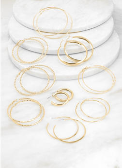 9 Metallic Hoop Earrings Set - 3135062923217