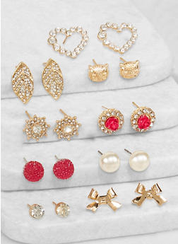 Set of 9 Assorted Rhinestone Leaf Stud Earrings - 3135062923668