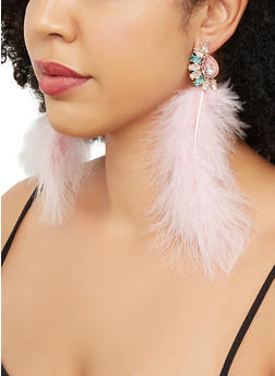 Jeweled Feather Drop Earrings - 3135062924091