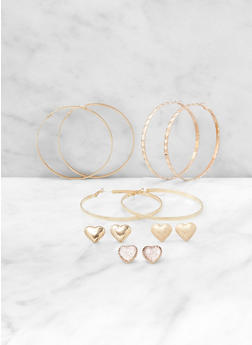 Heart Stud and Hoop Earrings Set - 3135062924499
